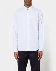 Editions M.R. Officer Collar Shirt In Striped Light Blue White Blue White