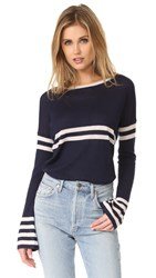 Autumn Cashmere Striped Pullover Peacoat Moonlight