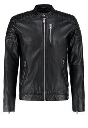 Jack And Jones Jconimu Leather Jacket Black