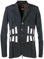 Jean Paul Gaultier Vintage Cage Design Denim Jacket Blue