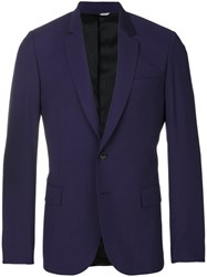 Paul Smith Ps By Scalloped Slim Fit Jacket Viscose Wool Blue