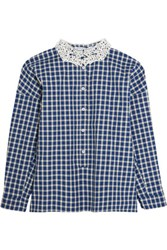 Vivetta Lace Trimmed Checked Cotton And Wool Blend Shirt Navy