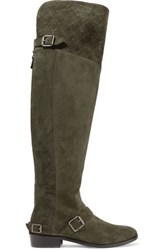Belstaff Taylour Buckled Suede Over The Knee Boots Army Green