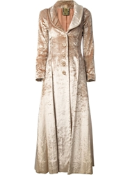 Biba Vintage Fitted Maxi Coat Nude And Neutrals