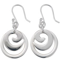 Andea Silver Spiral Circle Drop Earrings