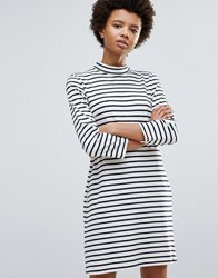 Wood Wood Mary Stripe Dress Off White Navy