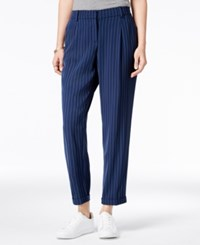 Bar Iii Pinstripe Ankle Pants Only At Macy's Navy Blazer Combo