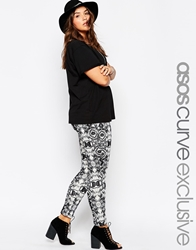 Asos Curve Exclusive Scuba Tube Trouser In Mono Aztec Print Multi