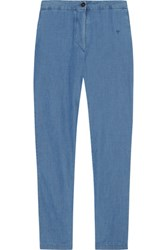 Chinti And Parker Cotton Chambray Tapered Pants Blue