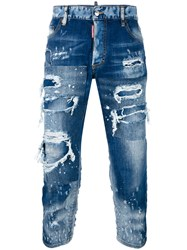 Dsquared2 Tomboy Patchwork Distressed Jeans Blue