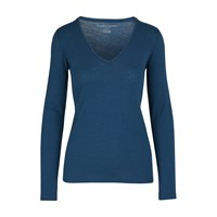 Majestic V Neck Long Sleeved Top Bleu Nuit