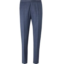 Hugo Boss Blue Bryder Slim Fit Prince Of Wales Checked Virgin Wool Suit Trousers Blue