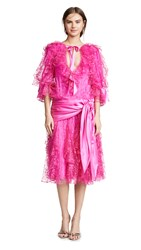 Rodarte Lace Tulle Dress With Satin Bows Hot Pink