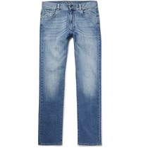 Canali Washed Stretch Denim Jeans Blue
