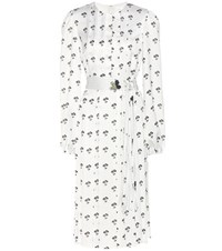 Victoria Beckham Floral Printed Pleated Satin Dress White