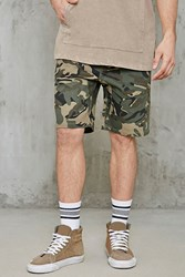 Forever 21 Camouflage Drawstring Shorts Olive Brown