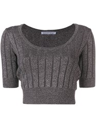 Alexander Wang T By Cropped Ribbed Knit Top Black