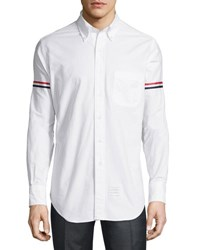 Thom Browne Classic Arm Stripe Long Sleeve Oxford Shirt Blue