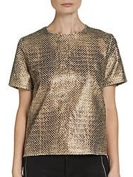 Wells Grace Snakeskin Embossed Faux Leather Tee Gold
