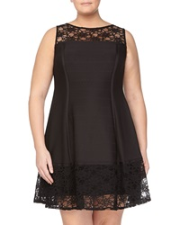 Julia Jordan Floral Lace Inset Pintuck Cocktail Dress Black
