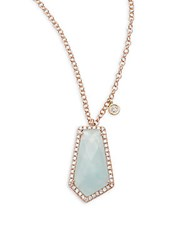 Meira T Diamond Milky Aquamarine And 14K Rose Gold Pendant Necklace