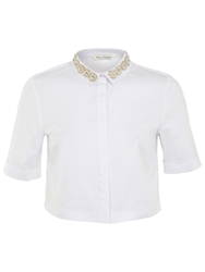 Miss Selfridge Embellished Collar Shirt White