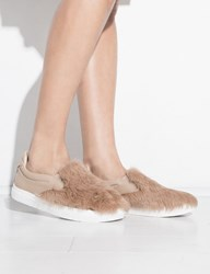 Pixie Market Brown Fur Slip On Shoes