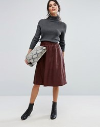 Selected Leather Midi Skirt Brown
