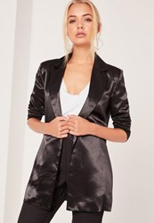 Missguided Boyfriend Style Blazer Metallic Black