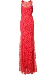 Marchesa Notte Floral Lace Gown Red