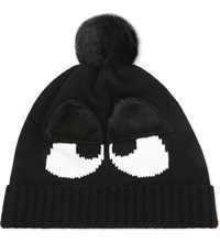 Mini Cream Furry Eyes Beanie Black