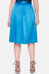 Eloquii Pleat Midi Skirt Plus Size Blue