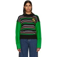 J.W.Anderson Jw Anderson Green Striped Deconstructed Crewneck Sweater