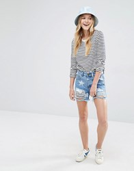 Daisy Street Denim Shorts With Stars And Distressing Blue Denim