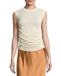Helmut Lang Sleeveless Ruched Silk Blend Top Ivory