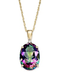 Macy's Mystic Topaz 7 1 3 Ct. T.W. And Diamond Accent Oval Pendant Necklace In 14K Gold