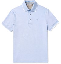Canali Slim Fit Contrast Tipped Cotton Pique Polo Shirt Blue