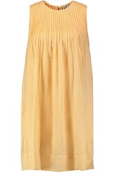 Sea Pintucked Cotton Crepe Dress Pastel Yellow