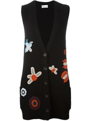 Red Valentino Embroidered Flower Sleeveless Cardigan Black