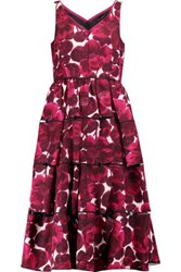 Marc By Marc Jacobs Frayed Printed Silk Midi Dress Pink