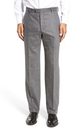 Hickey Freeman Men's Big And Tall Flat Front Solid Wool Blend Trousers Grey Solid