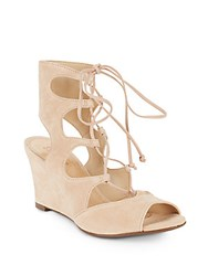 Schutz Ruthie Suede Gladiator Wedge Sandals Tanino