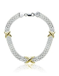 Lord And Taylor Sterling Silver Two Tone Bracelet