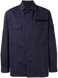 Golden Goose Deluxe Brand Button Up Military Jacket Blue