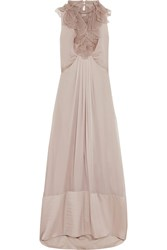 Valentino Embellished Cutout Silk Organza Gown Brown