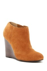 Restricted Wave Suede Wedge Bootie Brown