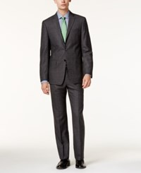 Calvin Klein Men's Extra Slim Fit Gray Glen Plaid Suit