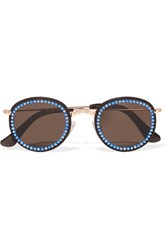 Freda Banana Vic Embellished Faux Leather Trimmed Round Frame Gold Tone Sunglasses Blue