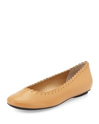 Neiman Marcus Stansie Scalloped Leather Flat Camel