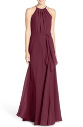 Amsale Women's 'Delaney' Belted A Line Chiffon Halter Dress Ruby